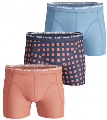 Björn Borg 3 Pack Heren Basic Shorts – Lichtblauw/Oranje - Maat XXL