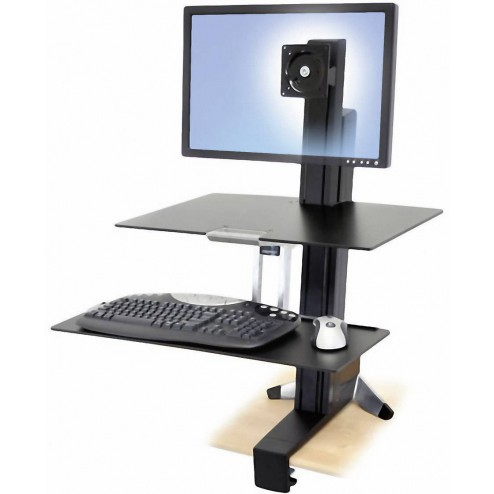 Ergotron WorkFit-S, Single HD with Worksurface+ Multimedia kar & stand - Zwart