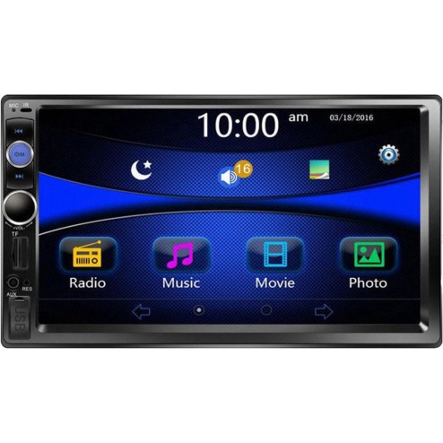 BrandWay Dubbel 2 Din Auto Radio met Achteruitrijcamera 7 inch Touchscreen | Bluetooth | Aux in | MP3 | MP4 Video | Foto