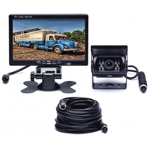 BrandWay Bedrade Achteruitrijcamera set met 7 inch scherm - Achteruitrij Camera bedraad voor Auto / Camper / Caravan / Vrachtwagen / Landbouw machines - Showmodel