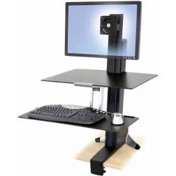 Ergotron WorkFit-S, Single HD with Worksurface+ Multimedia kar & stand - Zwart