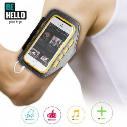 BE HELLO Universele LED Sportsarmband XL - Grijs/Geel