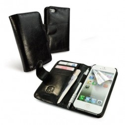 Vintage Leather Wallet-Style Case Cover for Apple iPhone 6 PLUS (5.5) (gratis Screen Protector) - zwart