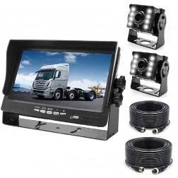 BrandWay Bedrade Achteruitrijcamera set met 2 Camera's en 7 inch scherm - Achteruitrij Camera bedraad voor Auto / Camper / Caravan / Vrachtwagen / Landbouw machines